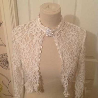 Lace Ivory Wedding Jacket.